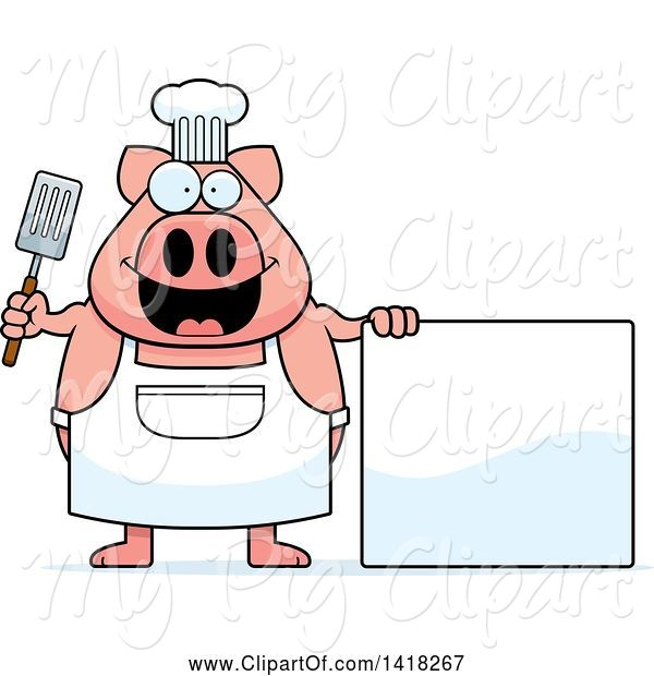 Swine Clipart of Cartoon Chef Pig Holding a Spatula by a Blank Sign