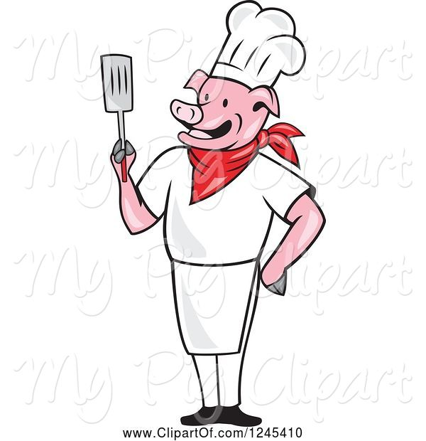 Swine Clipart of Cartoon Chef Pig Holding a Spatula