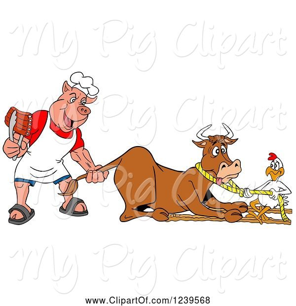 Swine Clipart of Cartoon Chef Pig Holding Ribs and Pulling the Tail of a Cow While a Chicken Holds a Rope