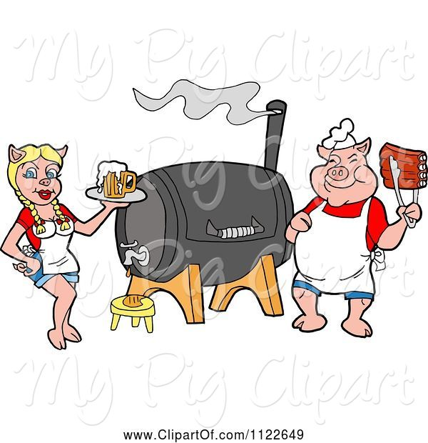 Swine Clipart of Cartoon Chef Pig Holding Ribs and Waitress Holding Beer by a Smoker