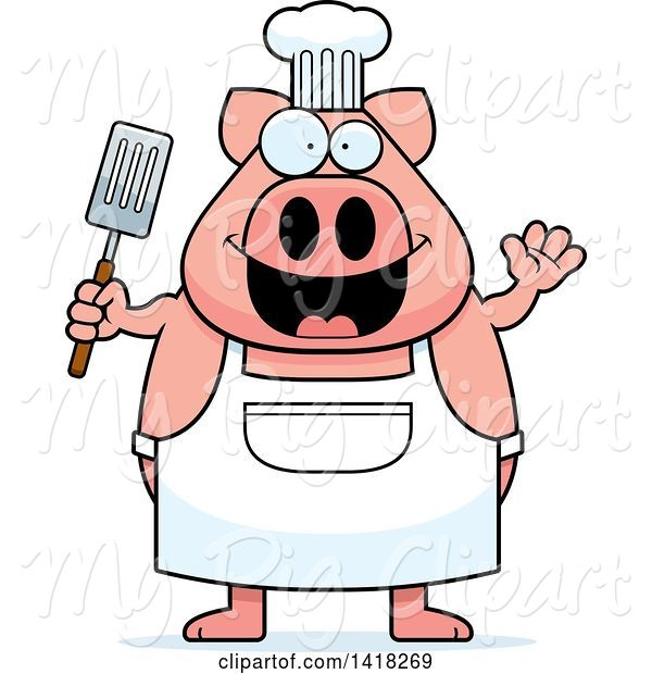 Swine Clipart of Cartoon Chef Pig Waving and Holding a Spatula