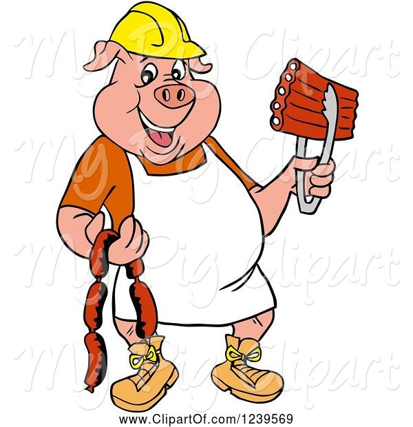 Swine Clipart of Cartoon Chef Pig Wearing a Hardhat and Apron, Holding Sausage and Bbq Ribs