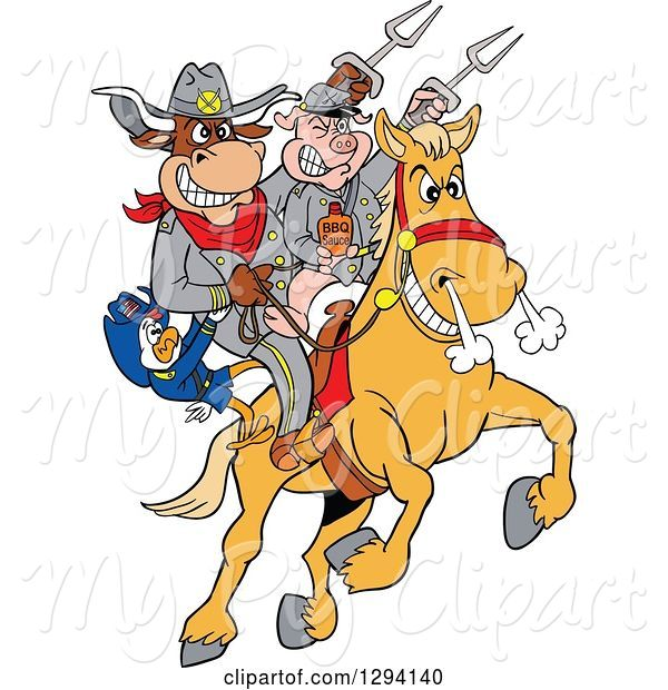 Swine Clipart of Cartoon Chicken, Bull and Pig Civil War Soldiers Riding a Horse with Bbq Sauce