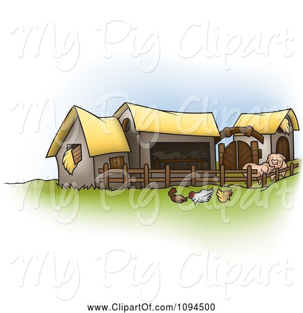 Swine Clipart of Cartoon Chickens and Pigs by Barns on a Farm