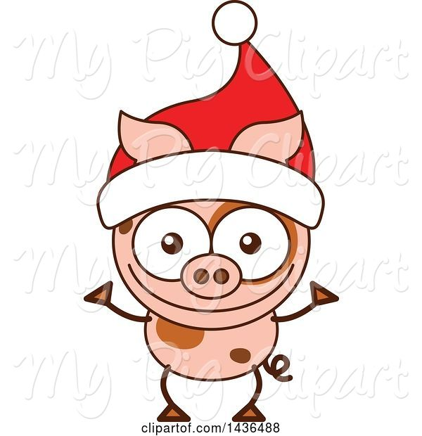 Swine Clipart of Cartoon Christmas Pig Wearing a Santa Hat