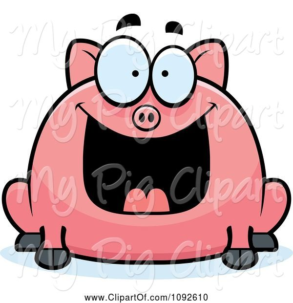 Swine Clipart of Cartoon Chubby Grinning Pig