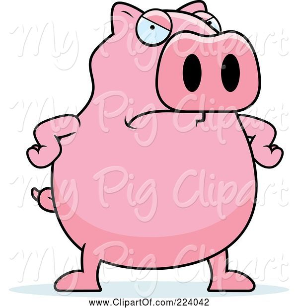 Swine Clipart of Cartoon Chubby Pink Pig with an Angry Expression