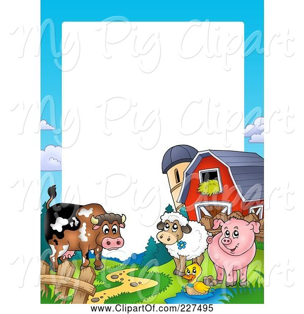Swine Clipart of Cartoon Cow, Duck, Sheep and Pig by a Silo and Barn Border Frame