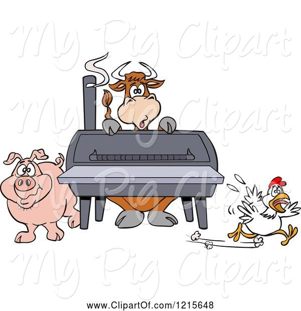 Swine Clipart of Cartoon Cow Pig and Chicken by a Bbq Smoker