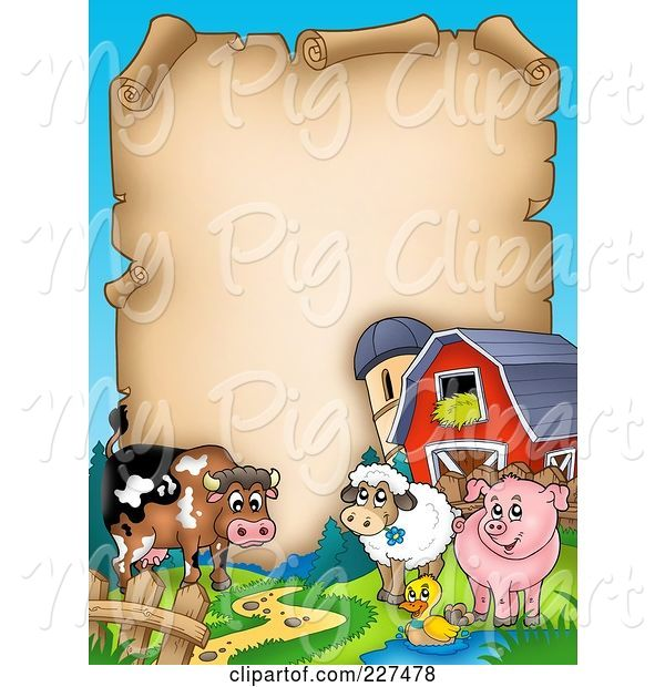 Swine Clipart of Cartoon Cow, Sheep, Duck and Pig with a Barn and Silo Around an Aged Parchment Page