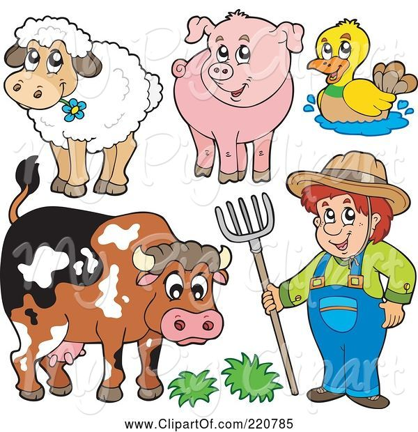 Swine Clipart of Cartoon Digital Collage of a Farmer and His Livestock Animals