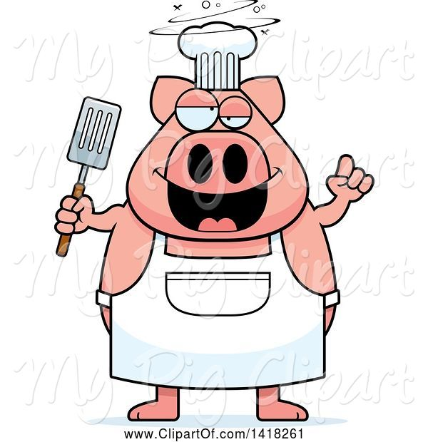 Swine Clipart of Cartoon Drunk Chef Pig Holding a Spatula