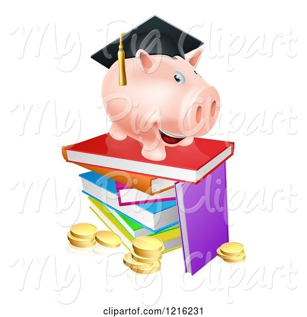Swine Clipart of Cartoon Graduate Piggy Bank on a Pile of Books over Coins