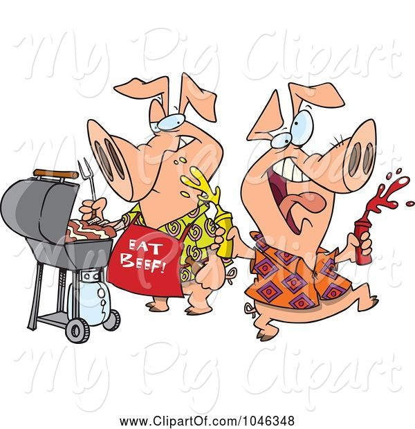 Swine Clipart of Cartoon Happy Pigs at a BBQ