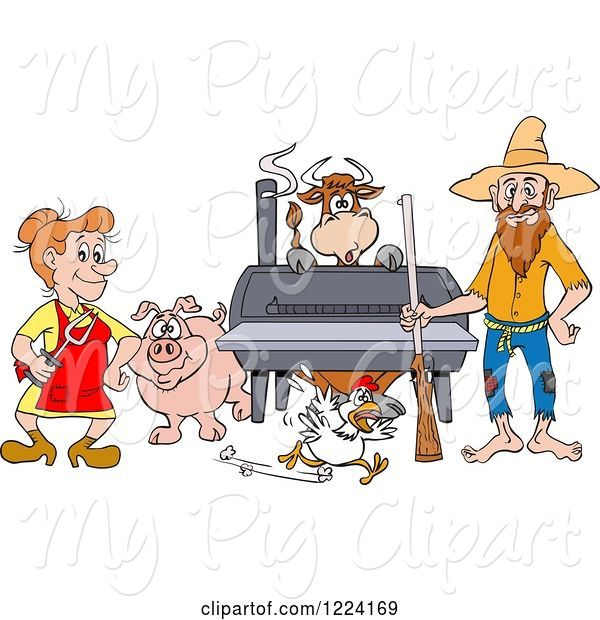 Swine Clipart of Cartoon Hillbilly Couple by a Bbq Smoker with a Cow Chicken and Pig