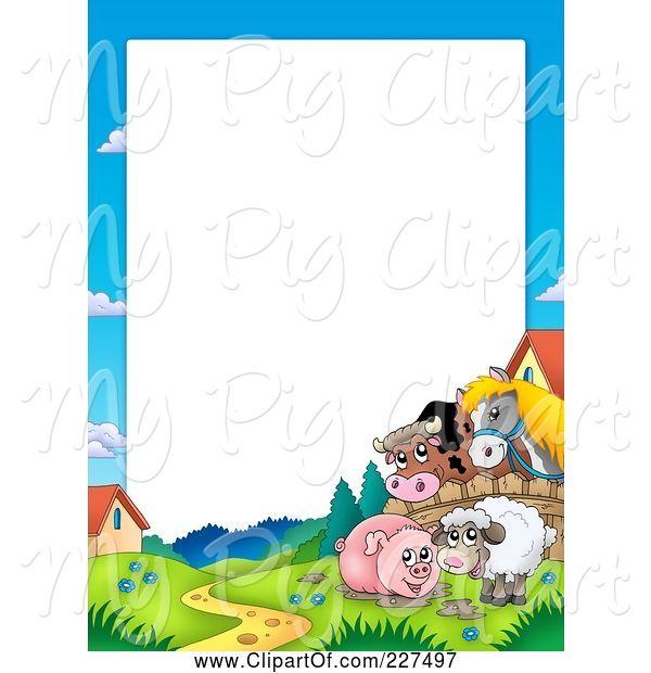 Swine Clipart of Cartoon Horse and Cow Looking over a Fence at a Pig in Mud and Sheep Border Frame