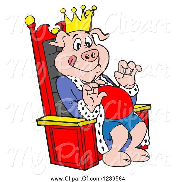 Swine Clipart of Cartoon Hungry Bbq King Pig Sitting on a Throne