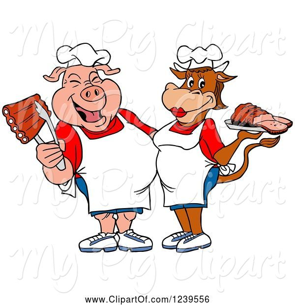Swine Clipart of Cartoon Male Chef Pig Holding Ribs and Female Chef Cow Holding Brisket