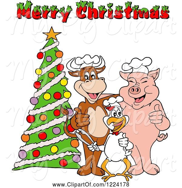 Swine Clipart of Cartoon Merry Christmas Greeting over a Chef Cow Pig and Chicken by a Tree