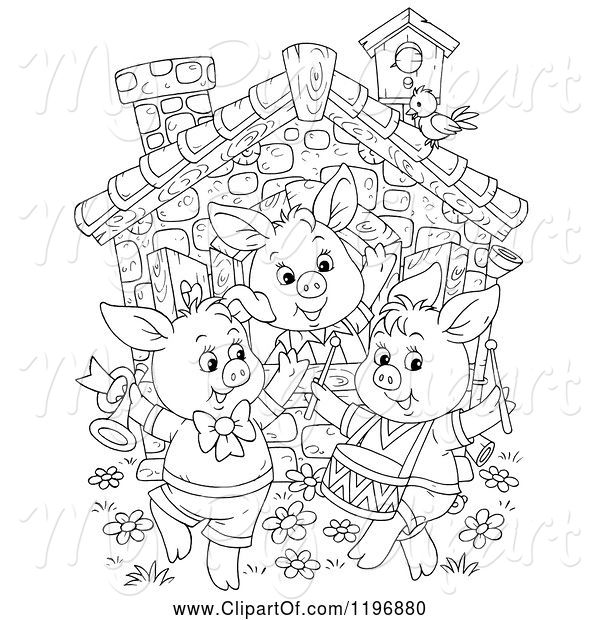 Swine Clipart of Cartoon Outline of the Three Little Pigs Dancing at a Cottage