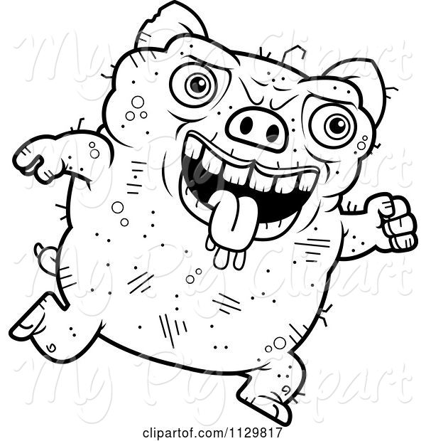 Swine Clipart of Cartoon Outlined Running Ugly Pig