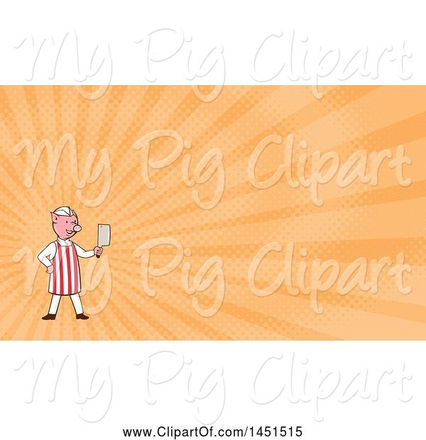 Swine Clipart of Cartoon Pig Butcher Holding a Cleaver Knife and Orange Rays Background or Business Card Design