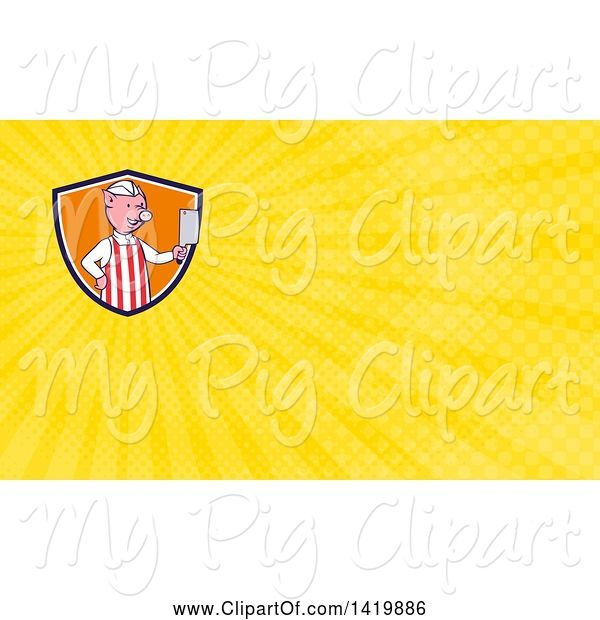Swine Clipart of Cartoon Pig Butcher Holding a Cleaver Knife and Yellow Rays Background or Business Card Design
