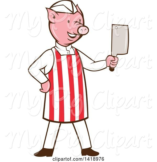 Swine Clipart of Cartoon Pig Butcher Holding a Cleaver Knife
