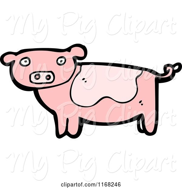 Swine Clipart of Cartoon Pig