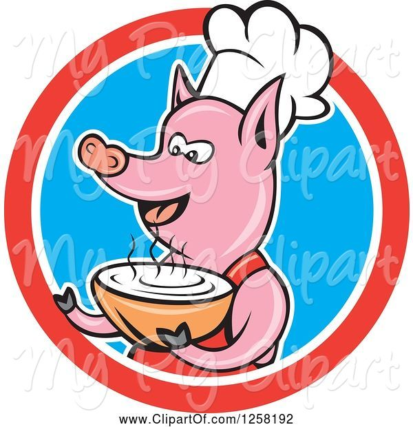 Swine Clipart of Cartoon Pig Chef Holding a Bowl of Soup in a Red White and Blue Circle