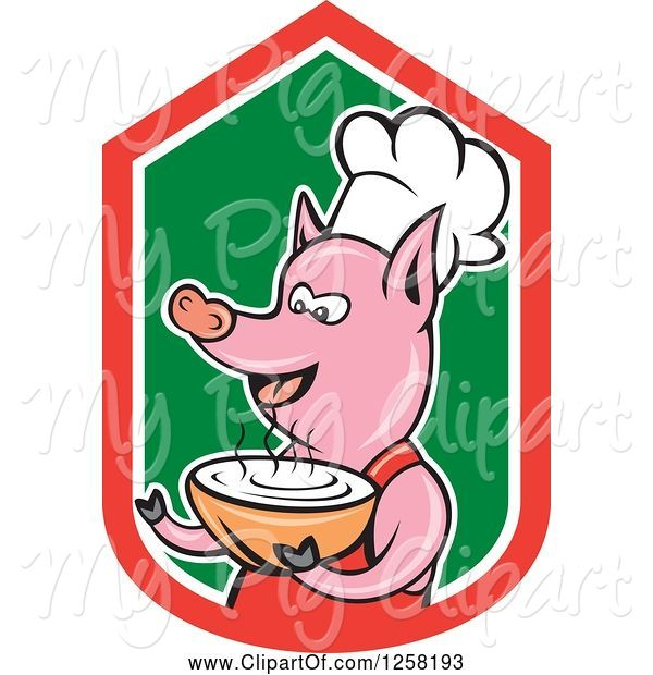 Swine Clipart of Cartoon Pig Chef Holding a Bowl of Soup in a Red White and Green Shield
