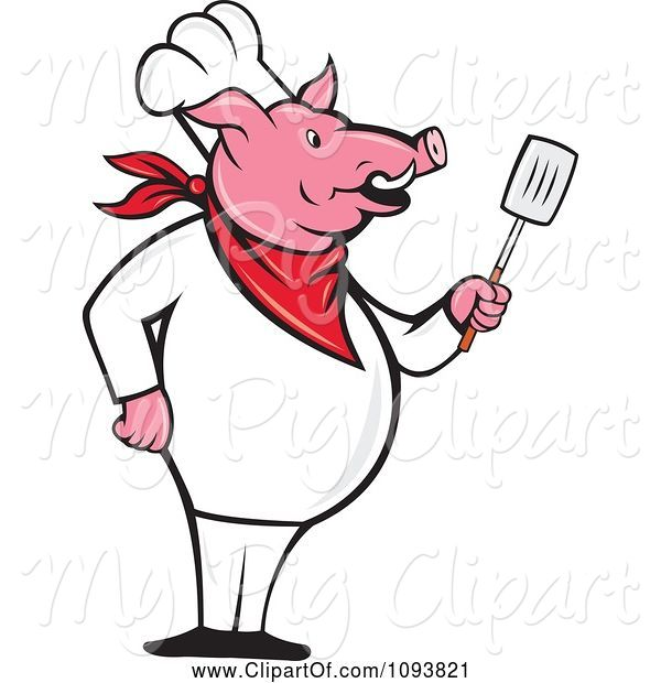 Swine Clipart of Cartoon Pig Chef Standing Upright and Holding a Spatula
