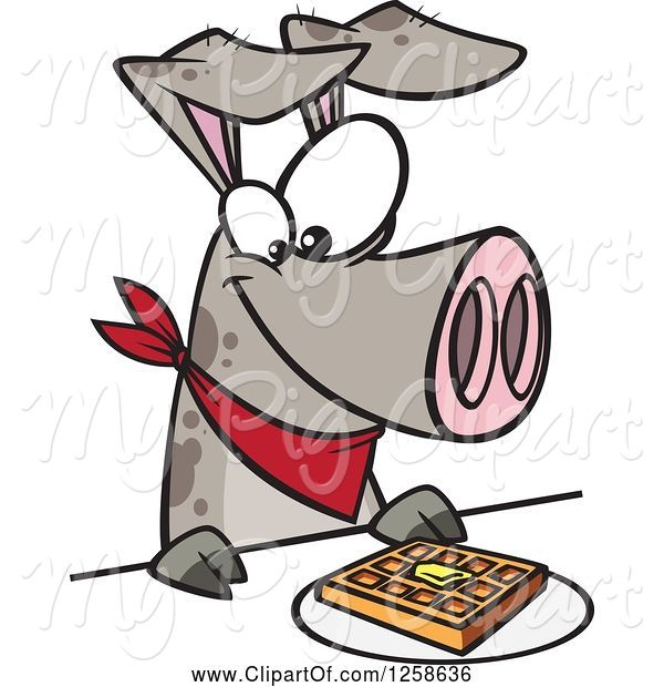 Swine Clipart of Cartoon Pig Eating a Waffle