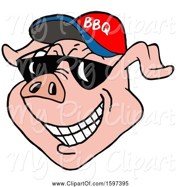 Swine Clipart of Cartoon Pig Face Wearing a Bbq Hat and Shades