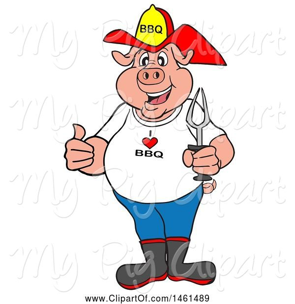 : Swine Clipart of Cartoon Pig Firefighter Holding a Thumb up and a Bbq Fork