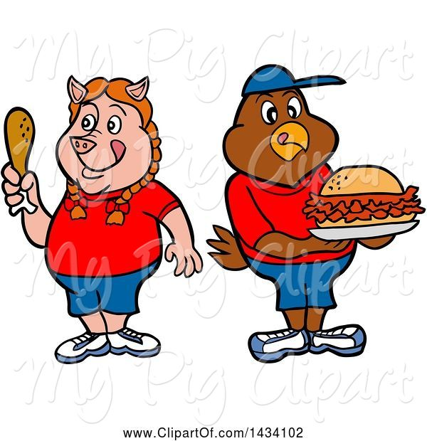 Swine Clipart of Cartoon Pig Girl Holding a Drumstick and Chicken Boy with a Pulled Pork Sandwich