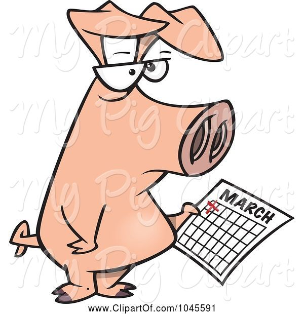 Swine Clipart of Cartoon Pig Holding a Calendar