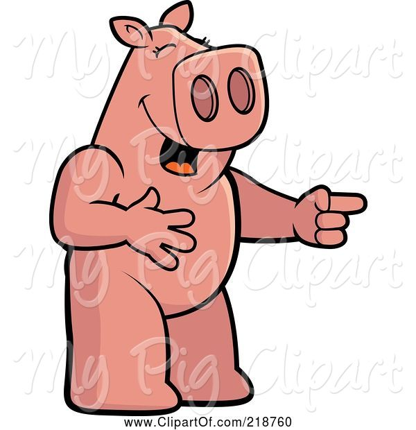 Swine Clipart of Cartoon Pig Laughing and Pointing