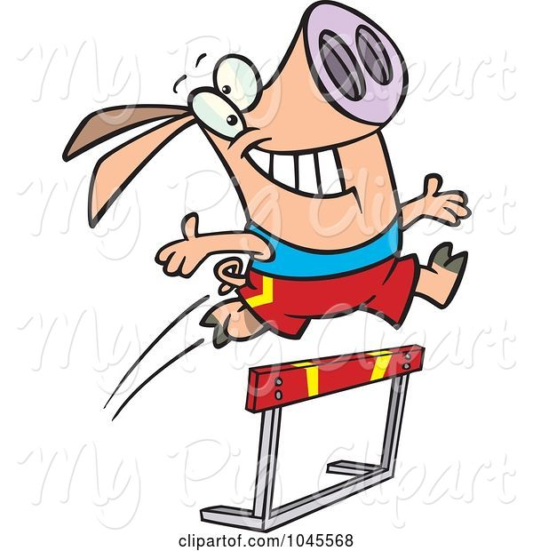 Swine Clipart of Cartoon Pig Leaping over a Hurdle