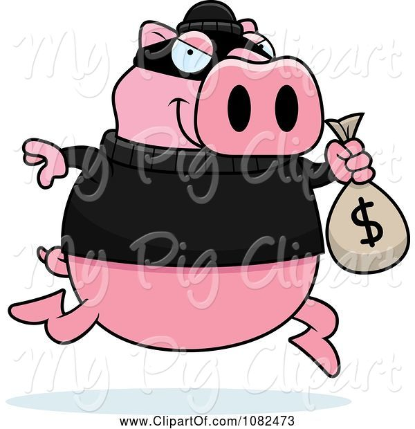 Swine Clipart of Cartoon Pig Robbing a Bank