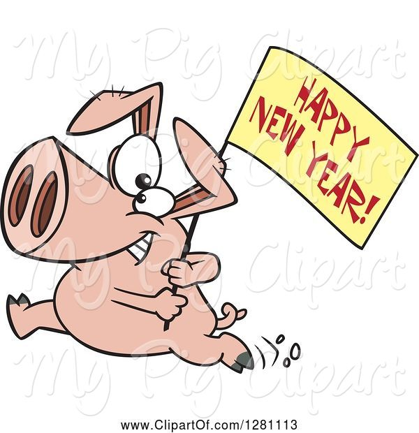Swine Clipart of Cartoon Pig Running with a Happy New Year Sign