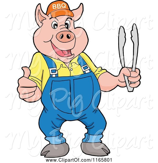 Swine Clipart of Cartoon Pig Wearing Overalls and a Bbq Hat and Holding Tongs and a Thumb up