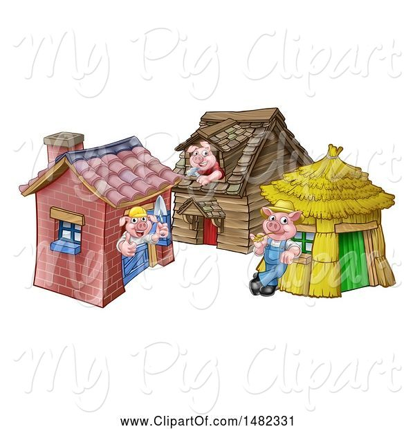 Swine Clipart of Cartoon Piggies from the Three Little Pigs Fairy Tale, at Their Brick, Wood and Straw Houses