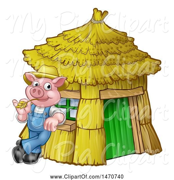 Swine Clipart of Cartoon Piggy from the Three Little Pigs Fairy Tale, Leaning Against His Straw House
