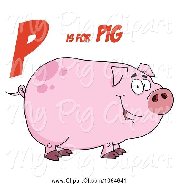Swine Clipart of Cartoon Piggy Under P Is for Pig