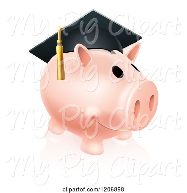 Swine Clipart of Cartoon Pink Graduation Piggy Bank Wearing a Mortar Board