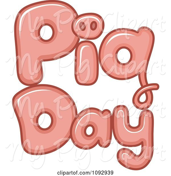 Swine Clipart of Cartoon Pink Pig Day Text
