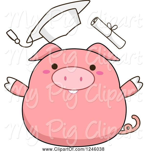 Swine Clipart of Cartoon Pink Pig Graduate Throwing His Hat and Diploma