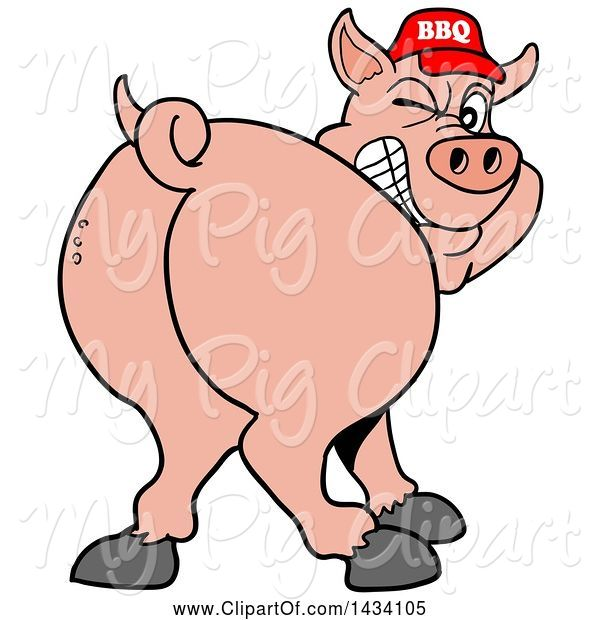 Swine Clipart of Cartoon Rear View of a Grinning and Winking Pig Looking Back and Wearing a Bbq Hat