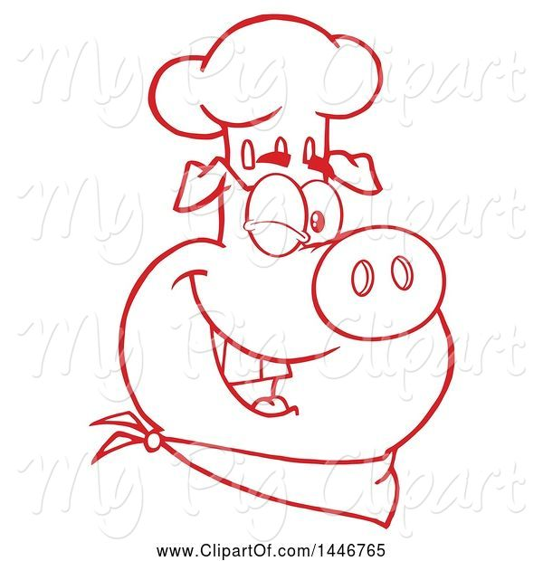 Swine Clipart of Cartoon Red and White Lineart Winking Chef Pig Wearing a Bandana and Toque Hat